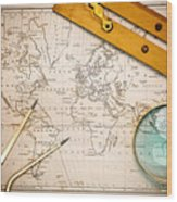 Old Map And Navigational Objects. Wood Print by Richard Thomas