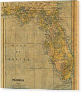 Old Map Of Florida Vintage Circa 1893 On Worn Distressed Parchment Wood Print