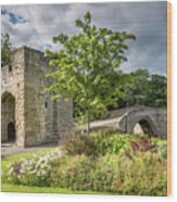 Old Medieval Bridge At Warkworth Wood Print