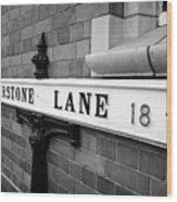 old metal victorian sign for warstone lane jewellery quarter Birmingham UK Wood Print