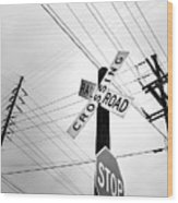 Old Midwest Railroad Warning Crossing Sign And Stop Sign At Dawn Wood Print