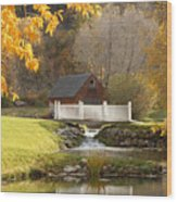 Old Mill In Autumn Wood Print