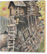 Old Mill In The Rockies Wood Print