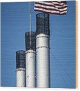 Old Mill Smoke Stacks With Flag Wood Print