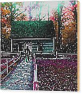 Old Mission Point Cabin Wood Print