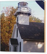 Old Mission Point Light House Wood Print