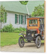 Old Model T Ford In Front Of House Wood Print
