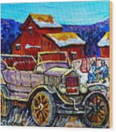 Old Model T Car Red Barns Canadian Winter Landscapes Outdoor Hockey Rink Paintings Carole Spandau Wood Print