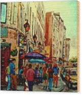 Old Montreal Cafes Wood Print