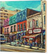Old Montreal Schwartzs Deli Plateau Montreal City Scenes Wood Print