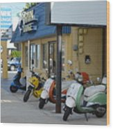Old Motorcycles Wood Print