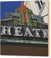 Old Movie Theatre Sign Wood Print by Garry Gay