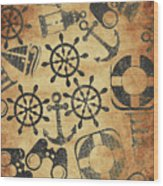 Old Nautical Parchment Wood Print