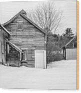 Old New England Barns In Winter Wood Print