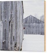 Old New England Barns Winter Wood Print