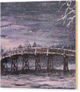 Old North Bridge In Winter Wood Print