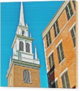 Old North Church Tower In  Boston-massachusetts Wood Print