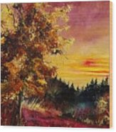Old Oak At Sunset Wood Print