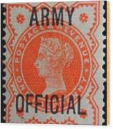 Old Orange Halfpenny Stamp  Wood Print