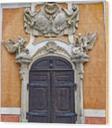 Old Ornate Door At The Cesky Krumlov Castle At Cesky Krumlov In The Czech Republic Wood Print