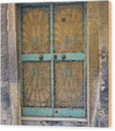 Old Ornate Wrought Iron Door In Venice, Italy  Wood Print