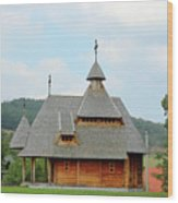 Old Orthodox Wooden Church On Hill Wood Print