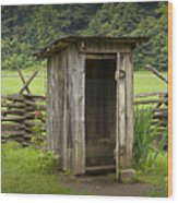 Old Outhouse On A Farm In The Smokey Mountains Wood Print by Randall Nyhof