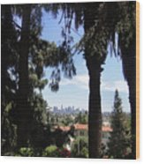Old Palm Trees And Downtown Los Angeles Wood Print