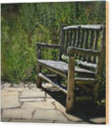Old Park Bench Wood Print