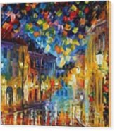 Old Part Of Town - Palette Knife Oil Painting On Canvas By Leonid Afremov Wood Print