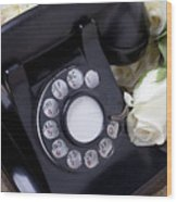 Old Phone And White Roses Wood Print by Garry Gay