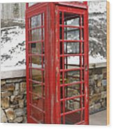 Old Phone Booth Wood Print