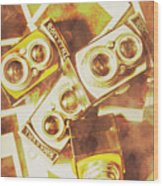 Old Photo Cameras Wood Print