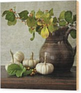 Old Pitcher With Gourds Wood Print