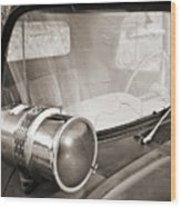 Old Police Car Siren Wood Print