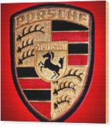 Old Porsche Badge Wood Print
