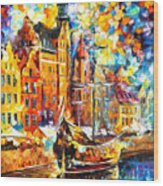 Old Port - Palette Knife Oil Painting On Canvas By Leonid Afremov Wood Print