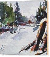 Old Posts In Snow Wood Print