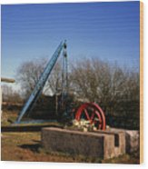 Old Quarry Machinery Winter Day Tegg's Nose Country Park Macclesfield Cheshire England Wood Print