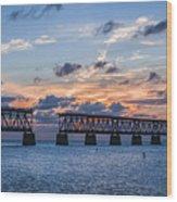Old Rail Bridge At Florida Keys Wood Print