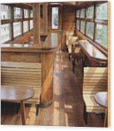Old Railway Wagon Interior Vintage Wood Print