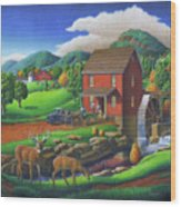 Old Red Appalachian Grist Mill Rural Landscape - Square Format  Wood Print