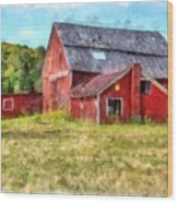 Old Red Barn Abandoned Farm Vermont Wood Print