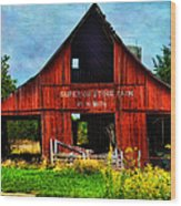 Old Red Barn And Wild Sunflowers Wood Print