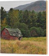 Old Red Barn In The Adirondacks Wood Print by Nancy De Flon