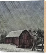 Old Red Barn In Winter Wood Print