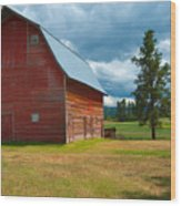 Old Red Big Sky Barn  Wood Print