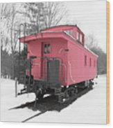 Old Red Caboose Square Wood Print