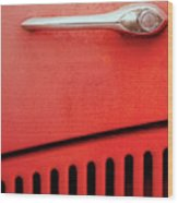 Old Red Car Wood Print