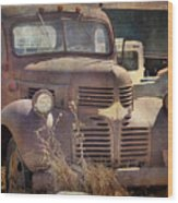 Old Red Dodge Truck Wood Print